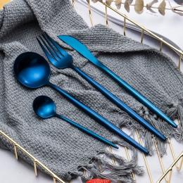 Oryginalny elegancki zestaw sztućców z długą rączką w odcieniach niebieskiego fioletu i matowej czerni zastawa stołowa