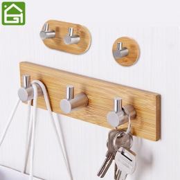 Klej naturalny bambus haczyk ścienny ze stali nierdzewnej torba na ubrania słuchawki klucz wieszak kuchnia łazienka wieszak na r