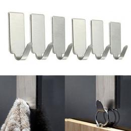 6 sztuk samoprzylepne Home kuchnia ścienne drzwi uchwyt ze stali nierdzewnej hak wieszak idealny do łazienki drzwi ściany wygodn