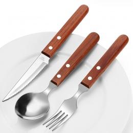 Chic drewniane uchwyt zestaw obiadowy zestaw sztućców ze stali nierdzewnej czarny palisander nóż widelec zastawa stołowa sztućce