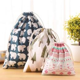 Nowe świeże tkaniny bawełniane podróży sznurkiem dużego ciężaru torba do przechowywania organizator torba na bieliznę zabawki wo
