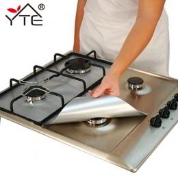 YTE 2 sztuk folia ochronna na kuchenkę gazową wielokrotnego użytku kuchenka gazowa palnik pokrywa Liner Mat ochrona przed urazam