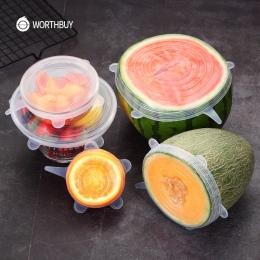 WORTHBUY 6 sztuk/zestaw uniwersalny pokrywa silikonowa świeże utrzymanie silikonowe pokrywy czapki dla garnek do żywności naczyń